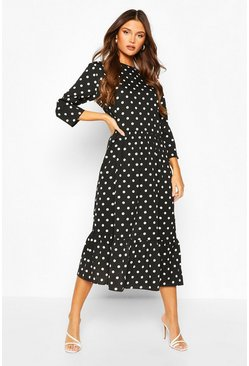 Black Oversized Polka Dot Smock Dress