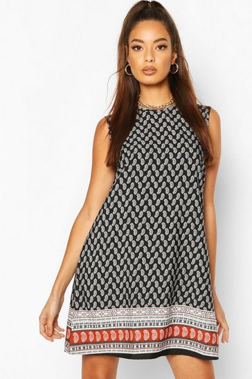 Black Paisley Sleeveless Shift Dress