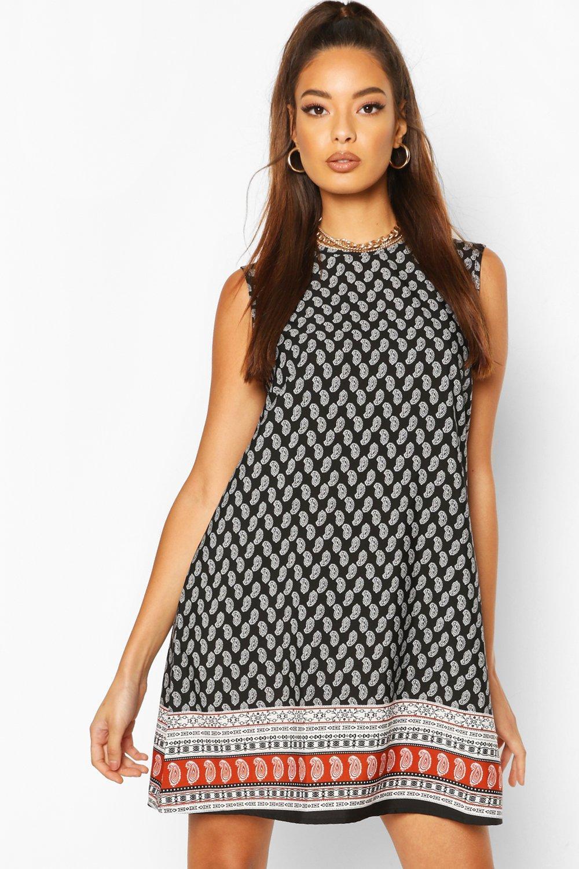 Paisley Sleeveless Shift Dress | boohoo Australia