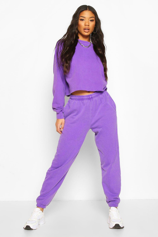 Vintage Sweaters, Retro Sweaters & Cardigan Ladies Womens Neon Oversized Crop Sweat - Purple - Xl $28.00 AT vintagedancer.com