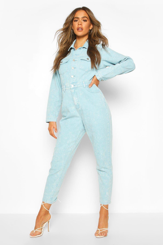 1980s Clothing, Fashion | 80s Style Clothes Womens Acid Wash Denim Boilersuit - Blue - 6 $33.00 AT vintagedancer.com