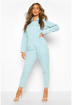 Acid Wash Denim Boilersuit , Blue
