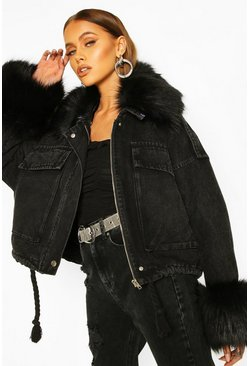Black Faux Fur Collar & Cuff Oversized Denim Jacket