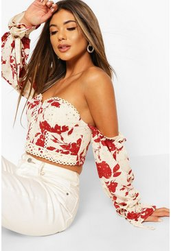 Rust Printed Lace Trim Off The Shoulder Crop Top