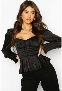 Black Satin Shirred Blouse