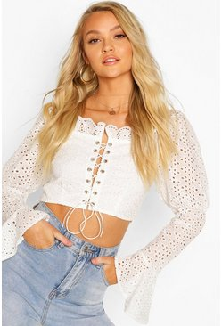 Ivory Broderie Anglais Lace Up Flared Sleeve Crop Top