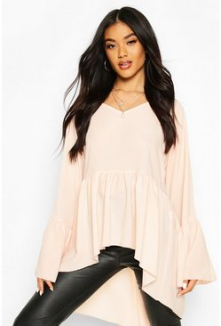 Blush Woven Flared Sleeve Smock Top
