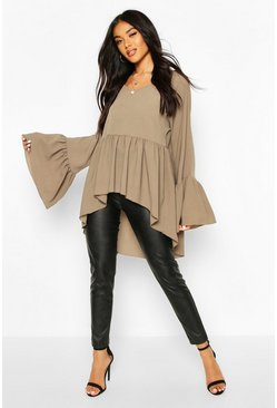 Khaki Woven Flared Sleeve Smock Top