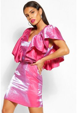 Hot pink Woven Plunge Extreme Ruffle Mini Dress