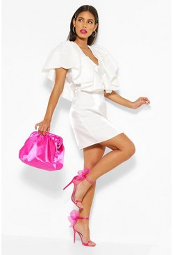 White Woven Plunge Extreme Ruffle Mini Dress