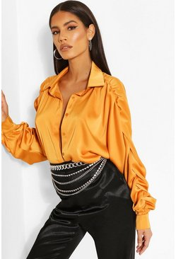 Orange Woven Rouched Sleeve Shirt