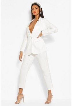 Ivory Satin Panel Dress Pants