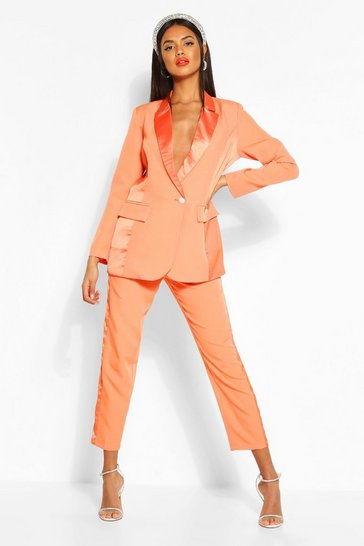 Orange Satin Panel Tailored Trouser