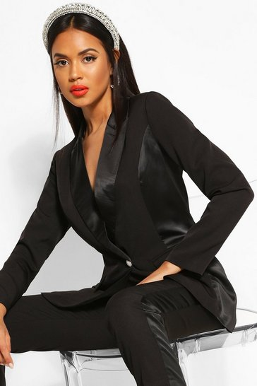 Black Satin Panel Tailored Blazer