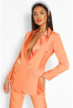 Enganliegender Blazer mit Satineinsatz, Orange
