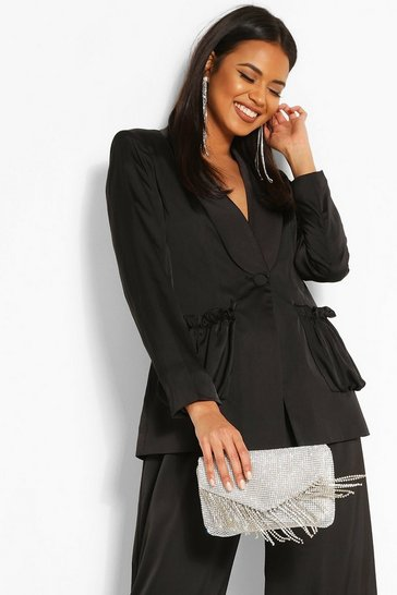 Black Woven Ruched Pocket Blazer