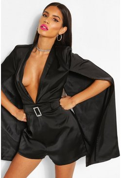 Black Woven Cape Detail Belted Playsuit