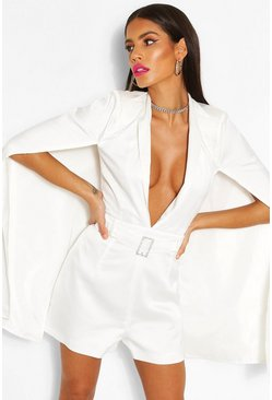 White Woven Cape Detail Belted Romper