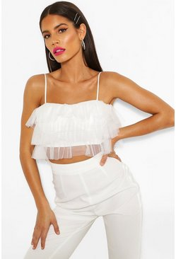 Ivory Mesh Ruffle Tierred Crop Top