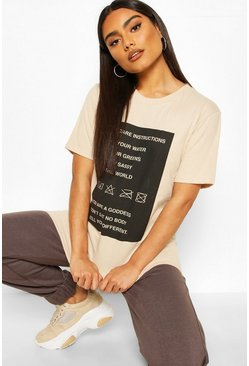 Sand Self Care Oversized T-Shirt