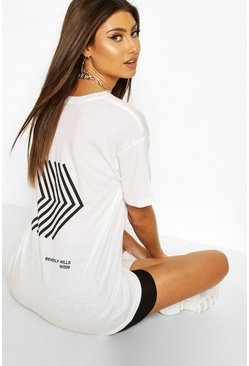 White Keep Moving Back Print Slogan T-Shirt