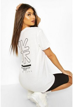 White Arrow Back Print T-Shirt
