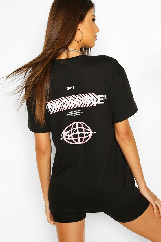 Black Impossible Back Print T-Shirt