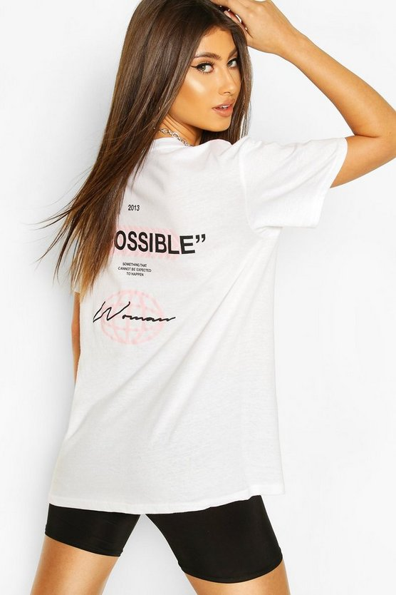 White Impossible Back Print T-Shirt