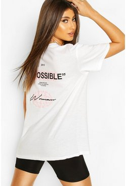 "T-Shirt mit ""Impossible Back""-Print, Weiß"