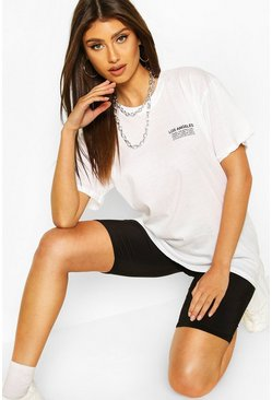 White Los Angeles Micro Print T-shirt