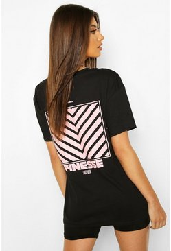 Black Finesse Back Print T-Shirt