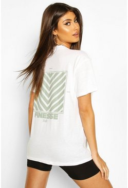 White Finesse Back Print T-Shirt