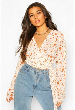 Rust Woven Printed Flared Sleeve Blouse