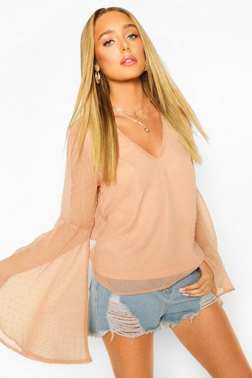 Blush Dobby Chiffon Flared Sleeve Blouse