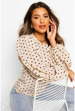 Stone Woven Polka Dot Volume Sleeve Top