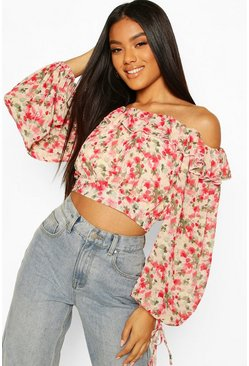 Pink Woven Floral Ruffle Off The Shoulder Top