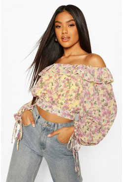 Yellow Woven Floral Ruffle Off The Shoulder Top
