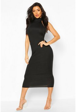 Black Jumbo Rib High Neck Midaxi Dress