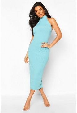 Blue Jumbo Rib High Neck Midaxi Dress