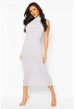 Silver grey Jumbo Rib High Neck Midaxi Dress