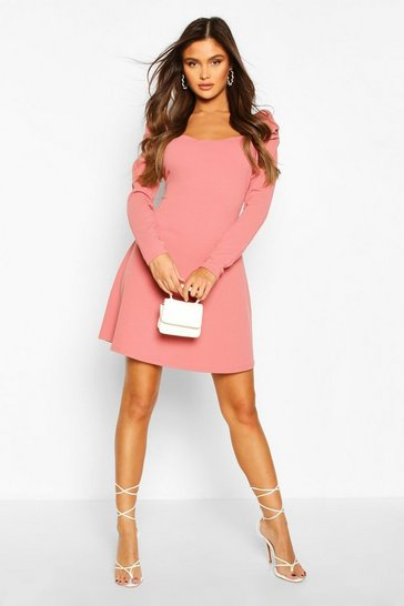 Rose Puff Sleeve Aline Mini Dress