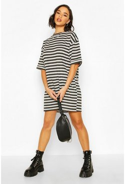 Black Striped Drop Shoulder Oversized T-Shirt Dress