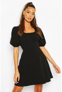 Black Ruched Sleeve Corset Detail Waist Skater