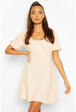 Blush Ruched Sleeve Corset Detail Waist Skater