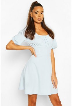 Pastel blue Ruched Sleeve Corset Detail Waist Skater