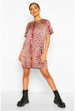 Burgundy Woven Leopard Shift Dress