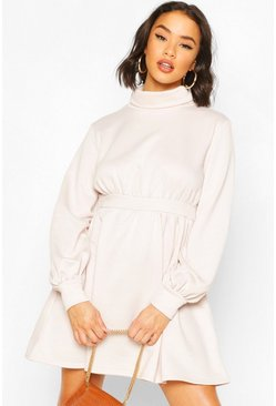 Stone Ruched Neck Blouson Sweatshirt Dress