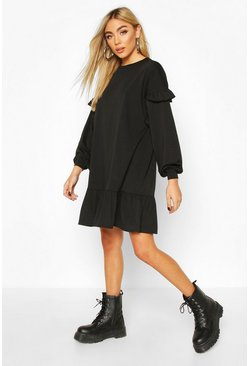 Black Ruffle Sleeve Drop Hem Sweatshirt Dress