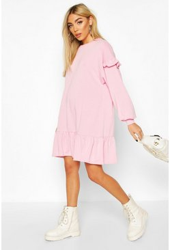 Pink Ruffle Sleeve Drop Hem Sweatshirt Dress