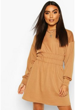 Camel Shirred Waist Long Sleeve Sweatshirt Dress